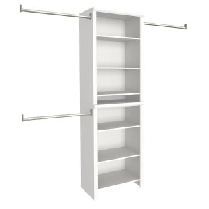 ClosetMaid Impressions 14.58 in. D x 25.12 in. W x 82.46 in. H White Standard Wood Closet System Kit