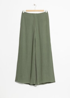 Wide Crepe Pants - Khaki Green - Wide Trousers - & Other Stories
