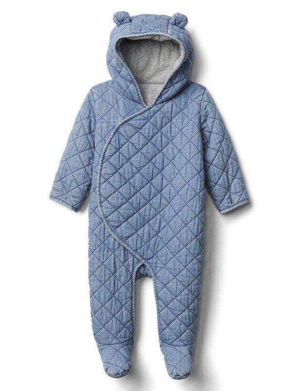 婴儿包脚连体服