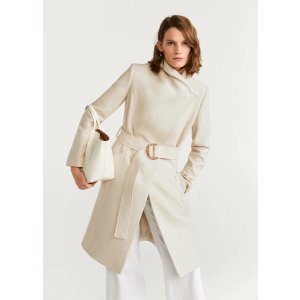 MangoWoolen coat with chain detail - Women | OUTLET USA