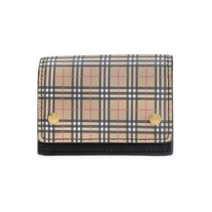 BurberryChecked coated-canvas and leather cardholder