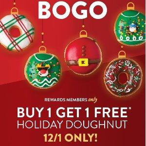 买一送一预告:Krispy Kreme 节日限定甜甜圈明日特价