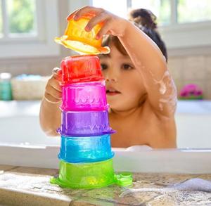 $5.99(原价$12.99)Munchkin 彩虹毛毛虫堆叠杯洗澡玩具