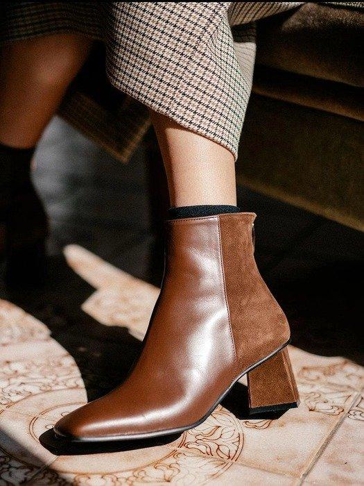 巧克力色高跟短靴