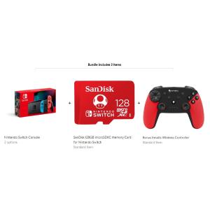 $299 包邮Nintendo Switch 新款 + 128GB 限定SD卡 + 游戏手柄