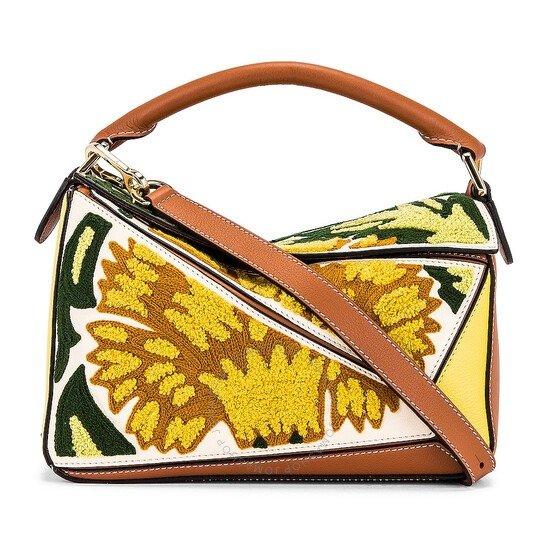 Yellow Floral P印花刺绣手提包