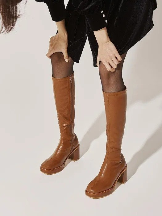 粗跟及膝靴