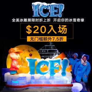 $20入场 套票7折起+无门槛额外7.5折黑五独家:ICE!冰雕展全美限时折上折 开启你的冰雪奇缘