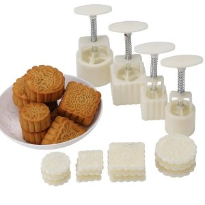 Lost Ocean Mid-Autumn Festival Hand-Pressure Moon Cake Mould With 12 Pcs Mode Pattern For 4 Sets