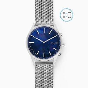 SkagenHolst Silver-Tone Steel-Mesh Hybrid Smartwatch