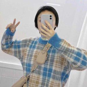 Sandro蓝色格纹毛衣