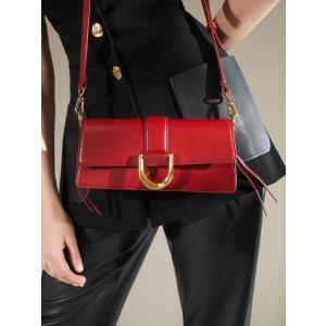 Charles & KeithRed Metallic Buckle Shoulder Bag