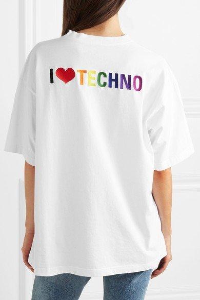 彩虹刺绣T恤