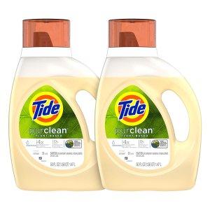 $14.19Tide Purclean Plant-Based Laundry Detergent, Unscented, 2x50 oz, 64 Loads