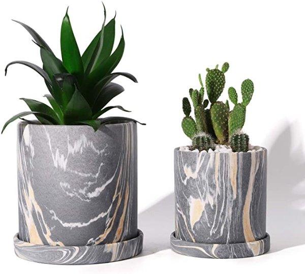 POTEY 大理石花纹陶瓷花盆 2个