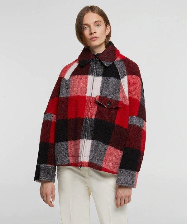 羊毛格纹外套