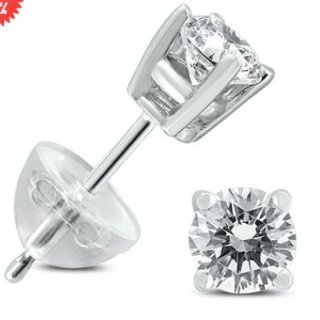.65CTW Round Diamond Solitaire Stud Earrings In 14k White Gold