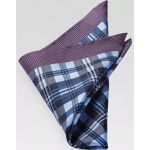 Joseph AbboudPurple & Navy Plaid & Dot Pocket Square - Men's Accessories | Men's Wearhouse
