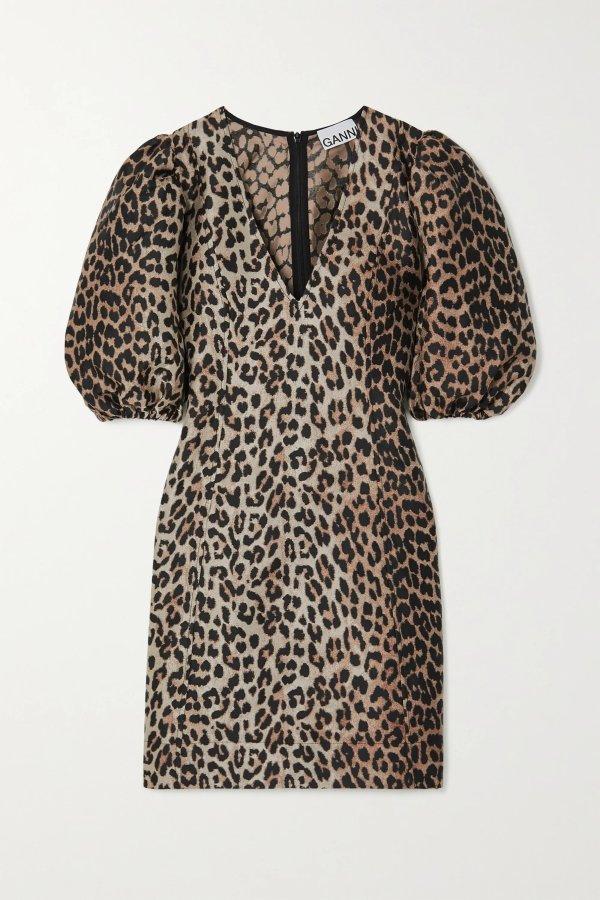 Leopard-jacquard 连衣裙
