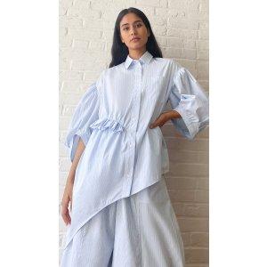 Simone RochaPuff Sleeve Asymmetric Twisted Hip 衬衫