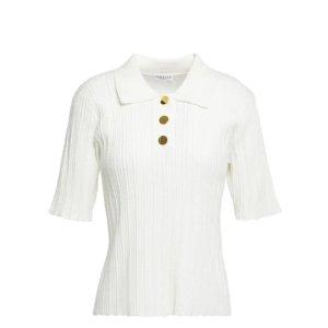 Claudie Pierlot白色polo短袖上衣