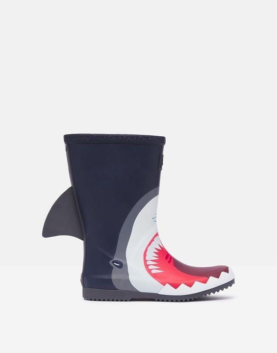 儿童3D可卷边鲨鱼雨靴