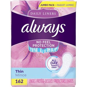 162片$6.16+免邮 每片$0.03白菜价:Always Thin Dailies 超薄持久干爽护垫