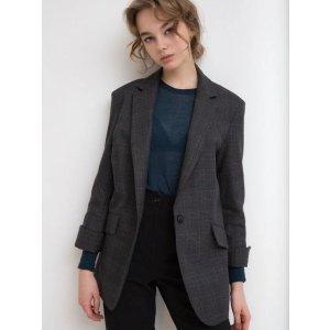 Lizzy明星同款 深蓝格纹西装外套