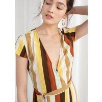 彩色条纹连衣裙