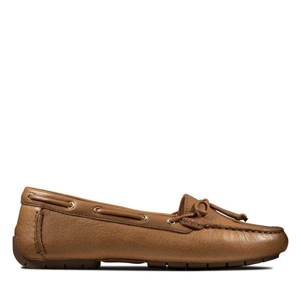 复古棕色女款帆船鞋