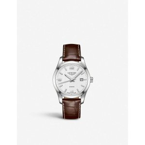 LonginesL3.760.4.76.5 Conquest stainless steel and leather watch