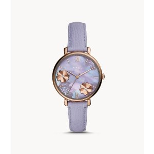 FossilJacqueline Three-Hand Lavender Leather Watch