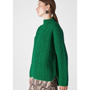 Green Oversized Chunky Cable Sweater | WHISTLES | Whistles