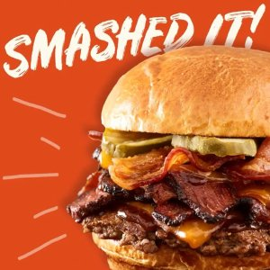 Buy One Get One for $1Today Only: Smashburger Smoked Bacon Brisket Burger