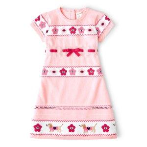 GymboreeGirls Short Sleeve Floral And Dog Intarsia Sweater Dress - Preppy Puppy