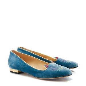 Charlotte OlympiaPeaceful Kitty in Blue & Gold - Flats | Charlotte Olympia