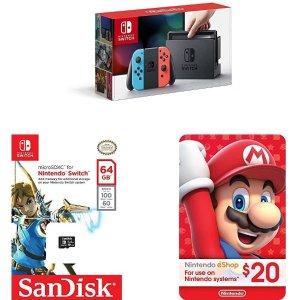 $299Nintendo Switch - Neon Blue and Red Joy-Con + SanDisk 64GB microSDXC UHS-I card + eCash - Nintendo eShop Gift Card $20 bundle