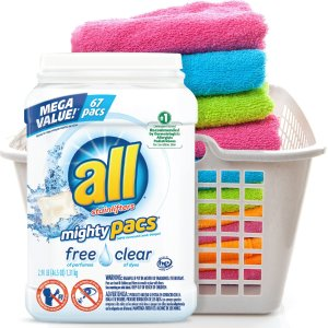 $14.96all Mighty Pacs Laundry Detergent, Free Clear for Sensitive Skin, 67 Count, 2 Tubs, 134 Total Loads