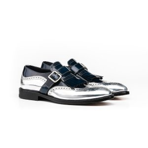 Blue silver shiny woman fringe moccasin shoes | DIS