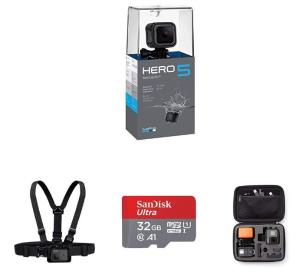 $239.99(原价$356.82)GoPro HERO5 运动相机套装(挂载套件, 32GB SD卡,相机包等)