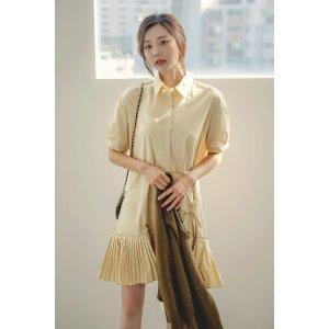 Pleated Peplum Tie Detail Shirt Dress
