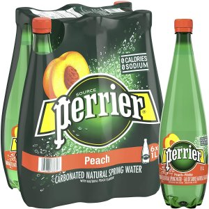 $9.11 多种口味可选Perrier 气泡矿泉水 巴黎水 1升×6瓶装 (桃子味)