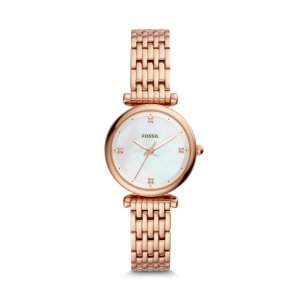 FossilCarlie Mini Three-Hand Rose Gold-Tone Stainless Steel Watch