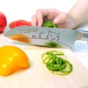 直邮含税到手价$45三德刀具 不锈钢猫咪切菜刀 锋利实用治愈系花纹