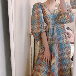 Ganni52%棉彩虹裙