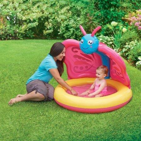 带遮阳 蝴蝶造型充气婴儿小泳池