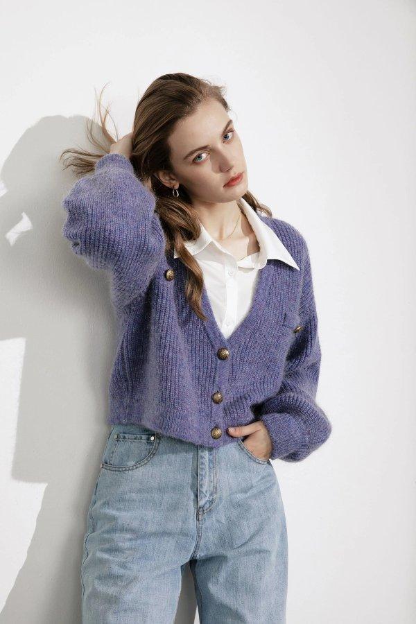 Elsie Purple Oversized 毛衣外套