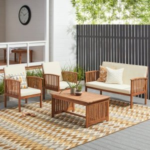 Christopher Knight HomeCarolina 4-piece Outdoor Acacia Sofa Set by Christopher Knight Home