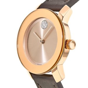 66% Off + Extra $10 OffMOVADO Bold Rose Dial Brown Leather Ladies Watch 3600438