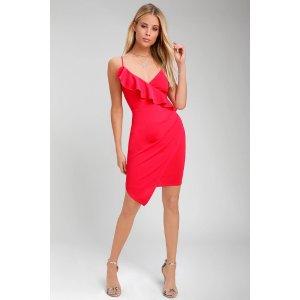 Keep on Flourishing Hot Pink Ruffled Asymmetrical Bodycon Dress